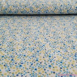 Pique estampado Pol/Alg 65/35% 160 cm 72306/02 Flor azul